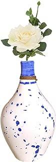 Kauri White Ceramic Vase - Cobalt Blue Splatter Pottery Vase | Real and Artificial Flower Decorative Display for Modern Home Styles