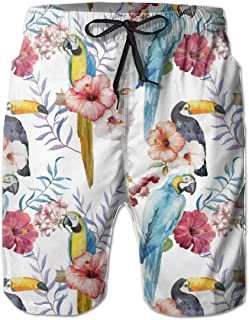 FUN Oven Mitts Parrot Toucan Floral Men's Beach Shorts Trunks Quick Dry Summer with Mesh Lining Pockets