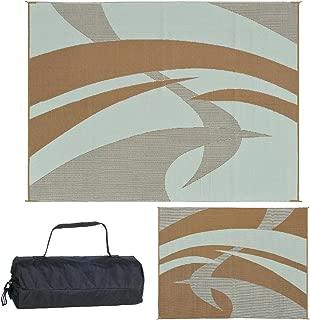 Reversible Mats Outdoor Patio/RV Camping Mat - Swirl (Brown/Beige, 9-Feet x 12-Feet)