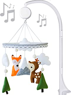 Music Baby Mobile with Crib arm Felt Handmade Baby Shower Gift for Girl or Boy (Woodland)