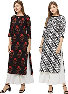 GoSriKi Women's Rayon Straight Kurta (Pack of 2)