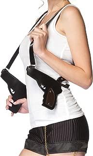 Leg Avenue Women's Double Gun Zipper Holster, Gangster Black, One Size