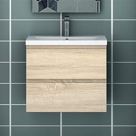 Meuble de Salle de Bain Blanc Meuble Lave-Mains à Suspendre avec lavabo céramique Meuble de Rangement sans poignées Double tiroir Bois Clair 50cm