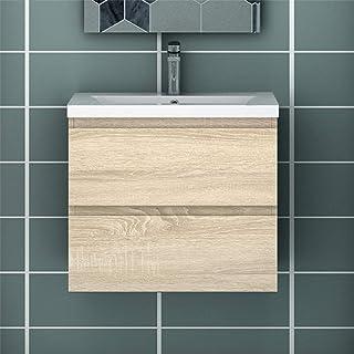 Meuble de Salle de Bain Blanc Meuble Lave-Mains à Suspendre avec lavabo céramique Meuble de Rangement sans poignées Double...