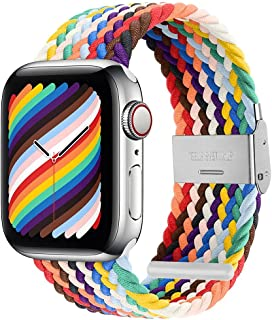 PROATL Adjustable Braided Solo Loop with Buckle Compatible With Apple Watch Band 40mm 38mm for Men and Women, Soft Wristband Stretch Nylon Elastic Strap for iWatch Series SE 6 5 4 3 2 1