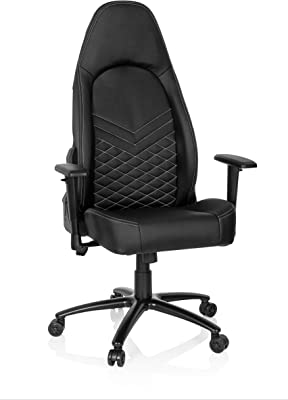 hjh OFFICE 722500 Racing Leader - Silla de Oficina de Piel sintética, Color Negro y