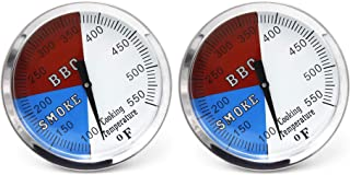 Hongso 3 1/8 Inch Barbecue Charcoal Grill Smoker Temperature Gauge Pit BBQ Thermometer Fahrenheit and Heat Indicator for Meat Cooking Port Lamb Beef, Stainless Steel Temp Gauge, 2-Pack