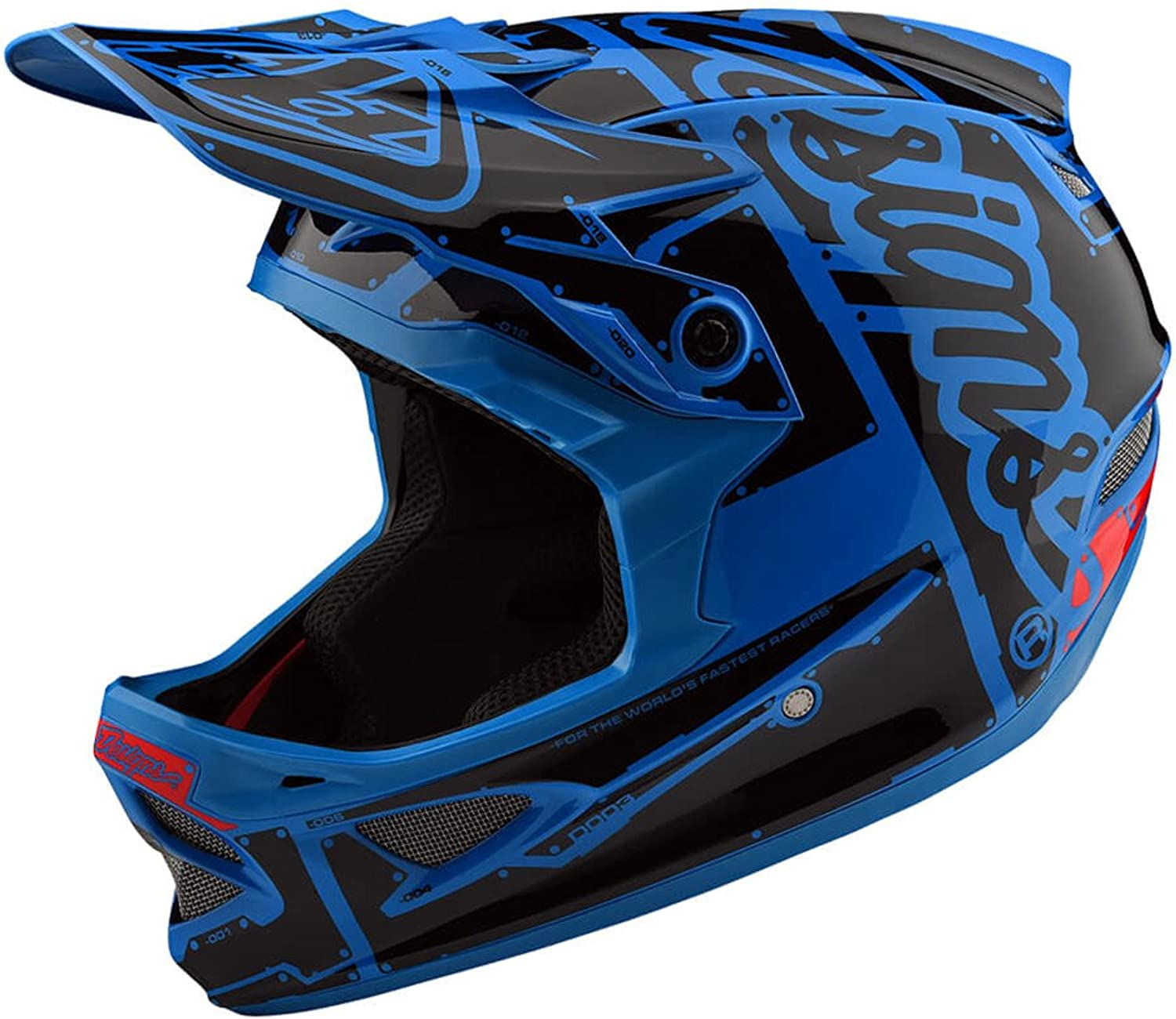 Troy Lee Designs D3 AS Fiberlite Full Face Bike Helmet Factory Ocean