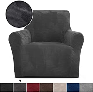 Rose Home Fashion RHF Chair Slipcover,Jacquard Stretch Chair Cover,Chair Slip Cover for Leather Couch-Polyester Spandex Slipcovers for Chairs (Dark Grey-Chair)