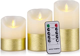 """Aku Tonpa 3.25"""" x 4"""" 5"""" 6"""" Set of 3 Flameless Candles Battery Operated Pillar Real Wax Flickering Moving Wick Electric LED Candle Gift Set with Remote Control and Timer, Ivory with Golden Trim"""