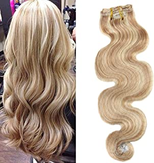 Moresoo 16 Inch Wavy Clip in Hair Extensions Human Hair 7Pcs Set 120g Thick Full Head Body Wave Clip in Hair Extensions Golden Blonde Highlighted with Bleach Blonde Remy Clip ins