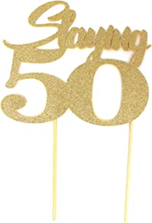 All About Details Slaying 50 Cake Topper, 1pc, 50th birthday, party decor, photo props (Gold)
