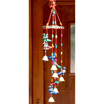 CraftJunction Round Bells Wooden Windchime (20-inch, Multicolor)