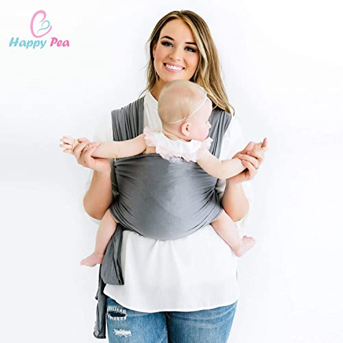 c8fef74fff5 Happy Pea UK Baby Wrap Carrier (Grey) 1 Size Fits All
