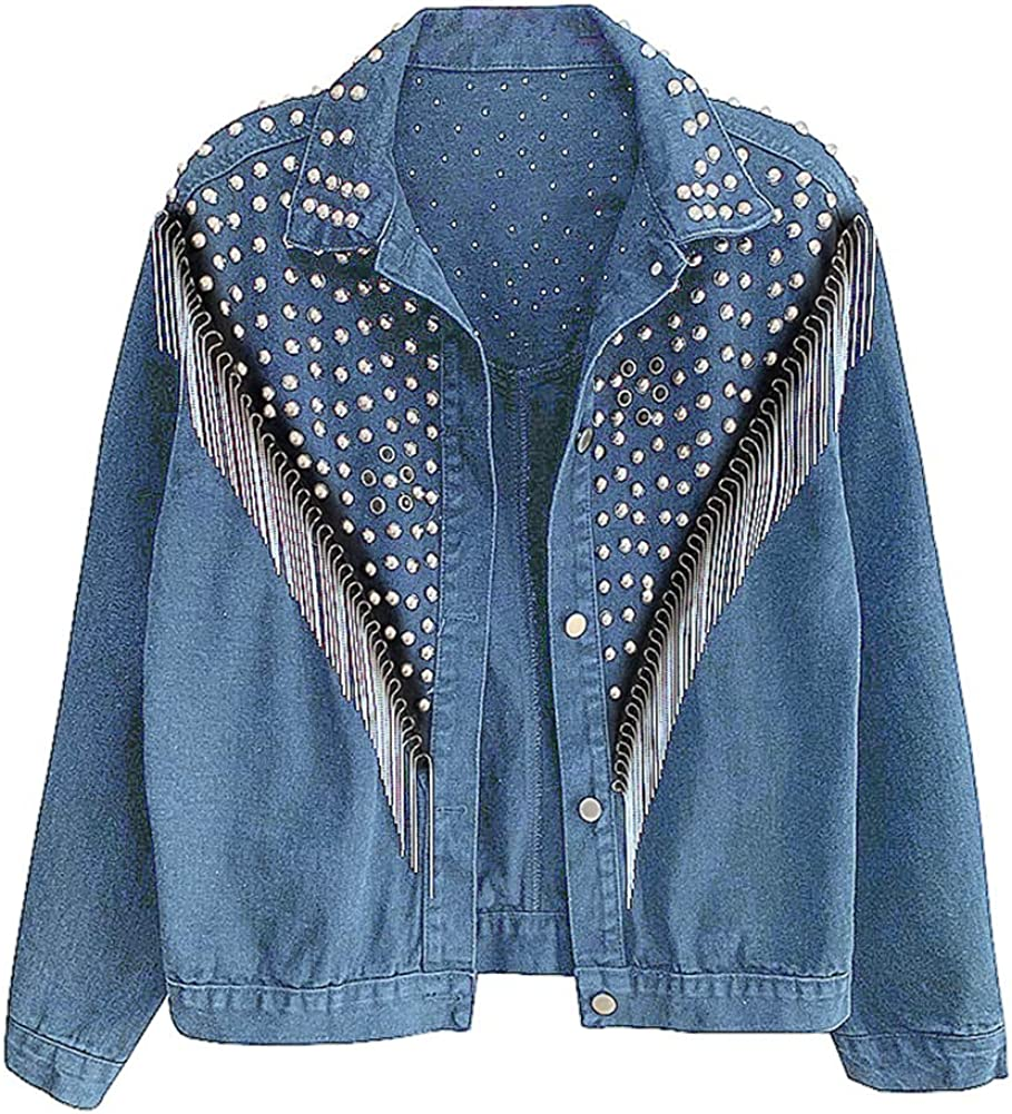 KEDERA Women's Bargain Oversize Jean Jacket Blue De Sleeves Long Studded Excellence