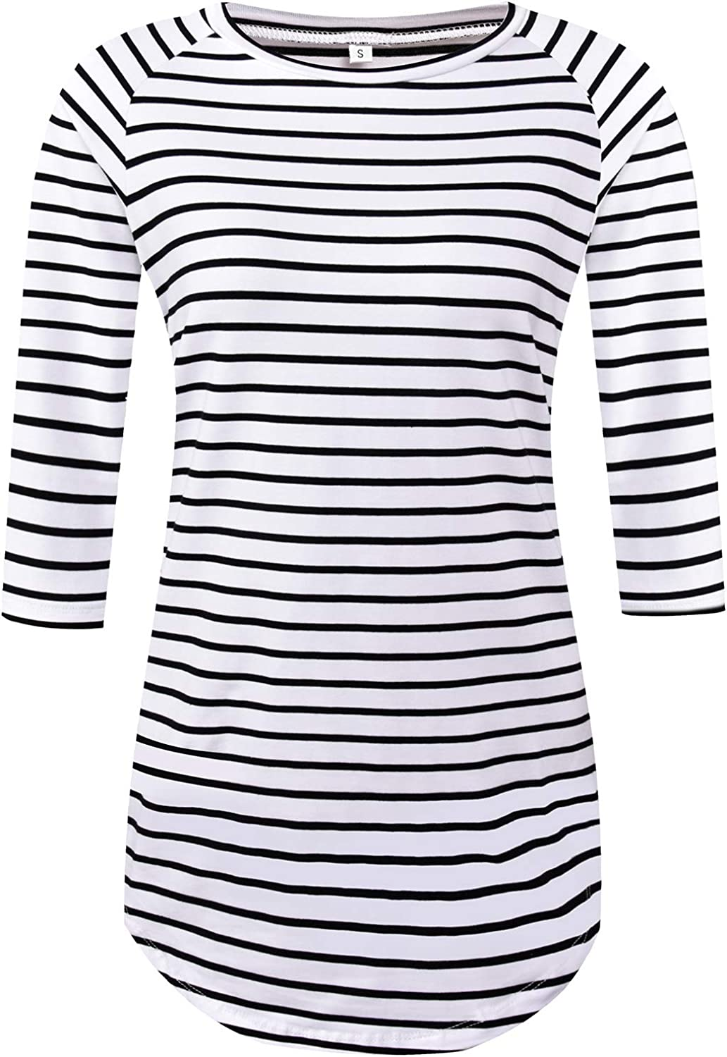 LilyCoco Women's Long Sleeve Striped T Shirt Tunic Tops for Leggings Slim Fit Tee Blouses