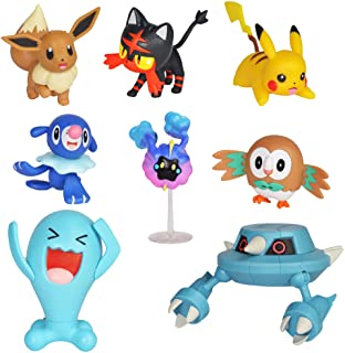"Pokemon Action Figure Mega Battle Pack - Comes with 2"" Rowlet, 2"" Popplio, 2"" Litten, 2"" Eevee, 2"" Pikachu,  2"" Cosmog, 3"" Metang, and 3"" Wobbuffet"