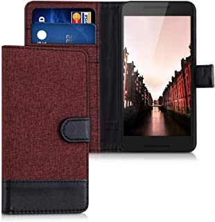 kwmobile Wallet Case for LG Google Nexus 5X - Fabric and PU Leather Flip Cover with Card Slots and Stand - Dark Red/Black