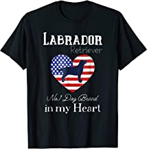 Patriotic Labrador No.1 Dog Breed American Flag Heart Tshirt