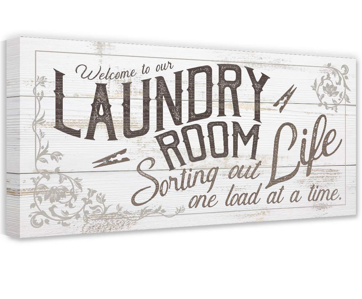 Laundry Room - Large Canvas Wall ストアー Not Printed on 未使用品 Art Str Wood