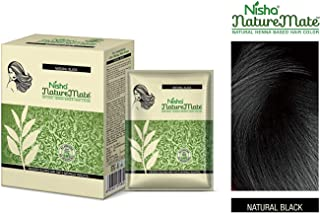 Nisha Nature Mate Natural henna based hair Color No ammonia formula used with herbal protection and long-lasting strong shine hair 6-in-1, 10gm/each pouch, Box Packaging [Natural-Black]