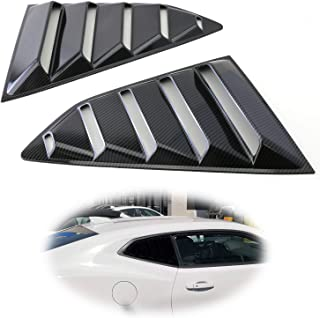 iJDMTOY Left/Right Black Carbon Fiber Finish Racing Style Rear Side Window Scoop Air Vent/Louver Shades For 2016-up Chevy Camaro