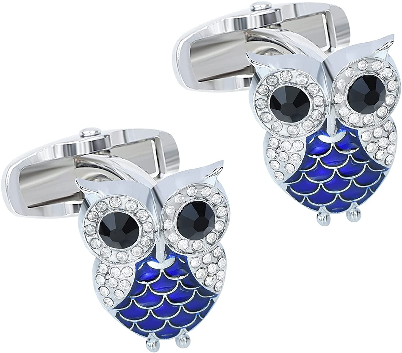 VVCome Mens Blue Enamel Crystal Owl Bird Cufflink Cuff Links for Men Wedding Business with Gift Box