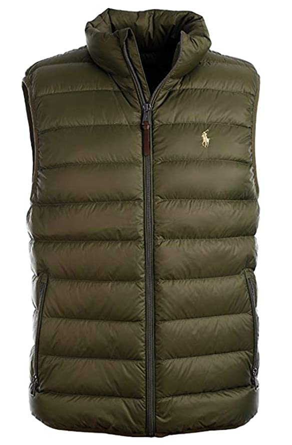 Ralph Lauren Polo Mens Water-Repellent Down Vest, Company Olive, XXL