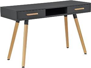 [en.casa] Retro Schreibtisch (75x120x45cm) Grau Matt Lackiert mit Schubladen