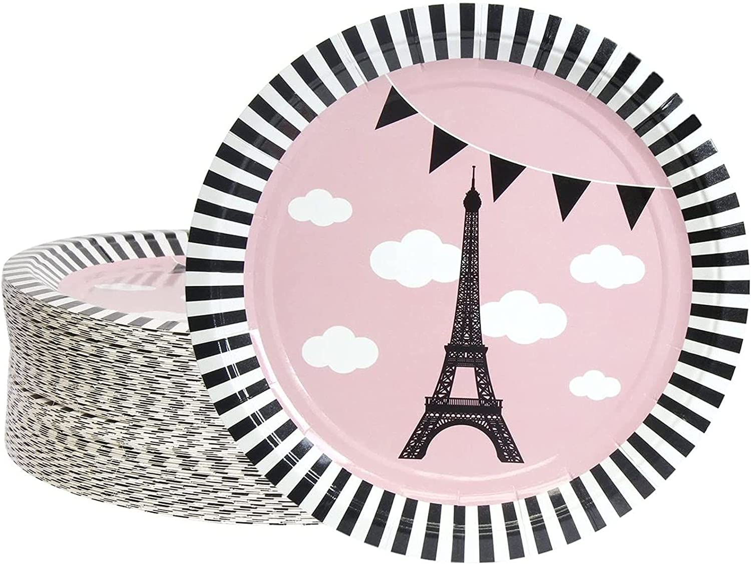 Disposable Sale price Plates - 80-Count Paper or Bargain Paris French Theme