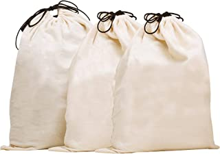 MISSLO Set of 3 Cotton Breathable Dust-Proof Drawstring Storage Pouch Bag, (Pack 3 XL)