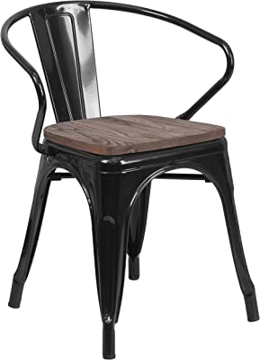 Flash Furniture Black Metal Chair with Wood Seat and Arms