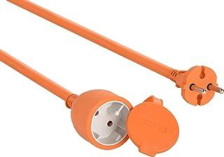 Electraline 20857039F Garten Schutzkontakt Verlängerung   50 m Kabel   weiß   Kunststoffleitung   IP20 / Verlängerungskabel mit Kindersicherung / Europäischem 2 poligem Stecker 16A