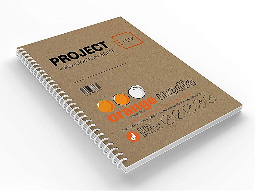 Orange Project : Premium Paper Creative Project FLIP Book for Pencil, Ink, Marker, Charcoal and Watercolor Paints. Great for Product Development, Design and Education. (1)