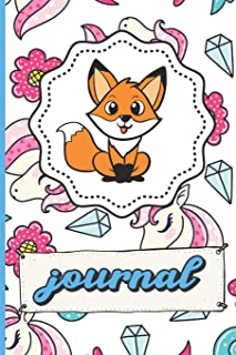 Fox Unicorns Diamonds Hearts And Flowers Journal: Funny Cute Notebook For Girls and Boys of All Ages. Great Gag Gift or Surprise Present for School, ... Anniversary, Graduation and During Holidays