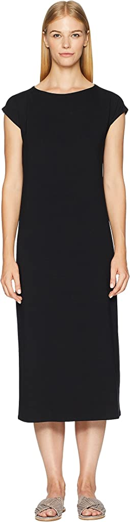 Viscose Jersey Bateau Neck Cap Sleeve Dress w/ Back Tie