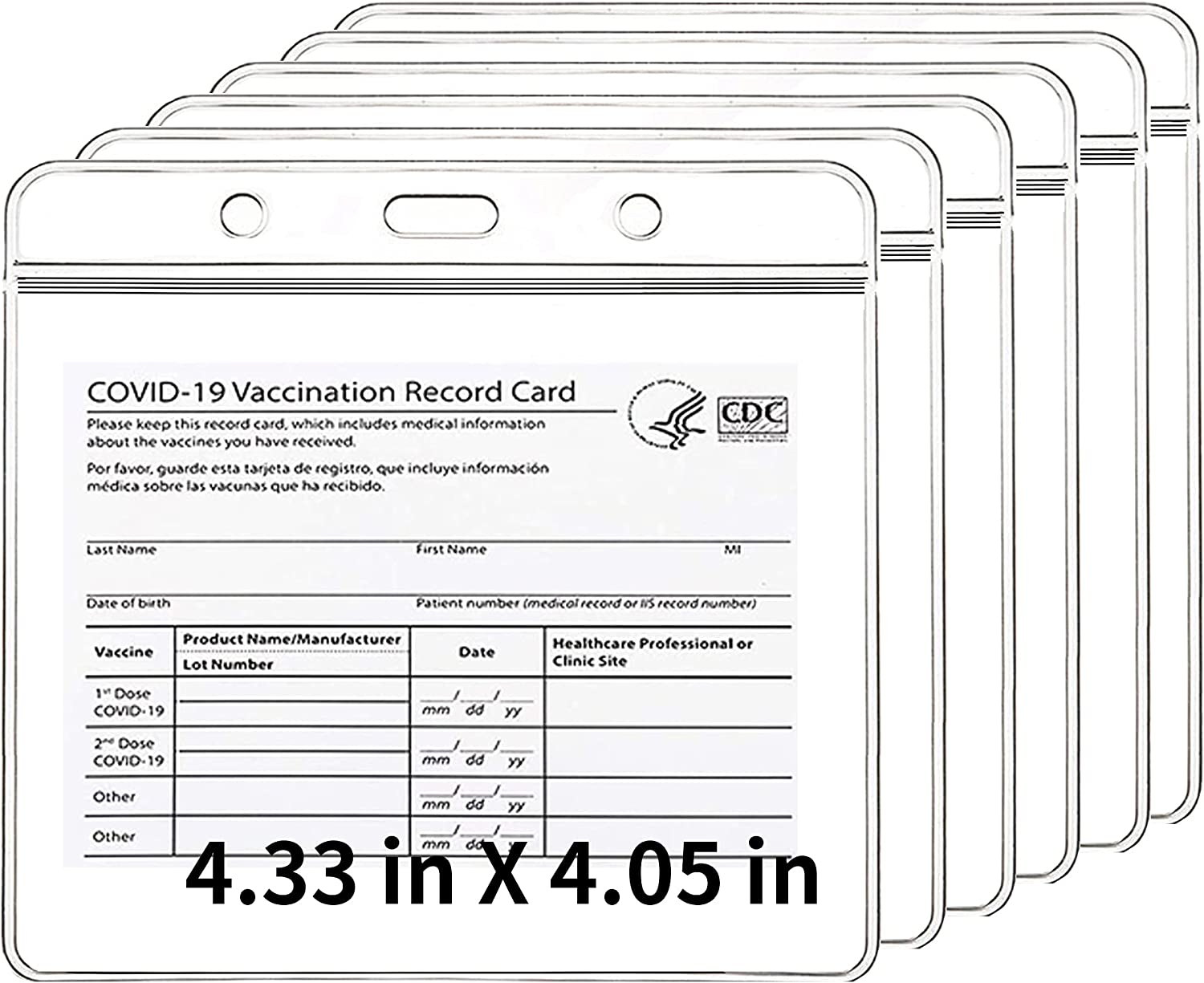 """5Pcs CDC Vaccination Card Protector Cle 4.5'' 4.8""""x Price reduction - Cover Import"""