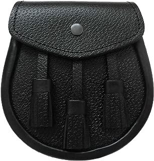 UT Kilts Scottish Kilt Black Leather Sporran (Black)