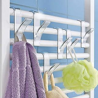 XIHUANNI - Percha para radiador, ahorra espacio, para baño, soporte para toallero, calentador tubular para radiador, plegable, para bufanda, ropa, 1/4/6 piezas, Transparente, 1 pieza