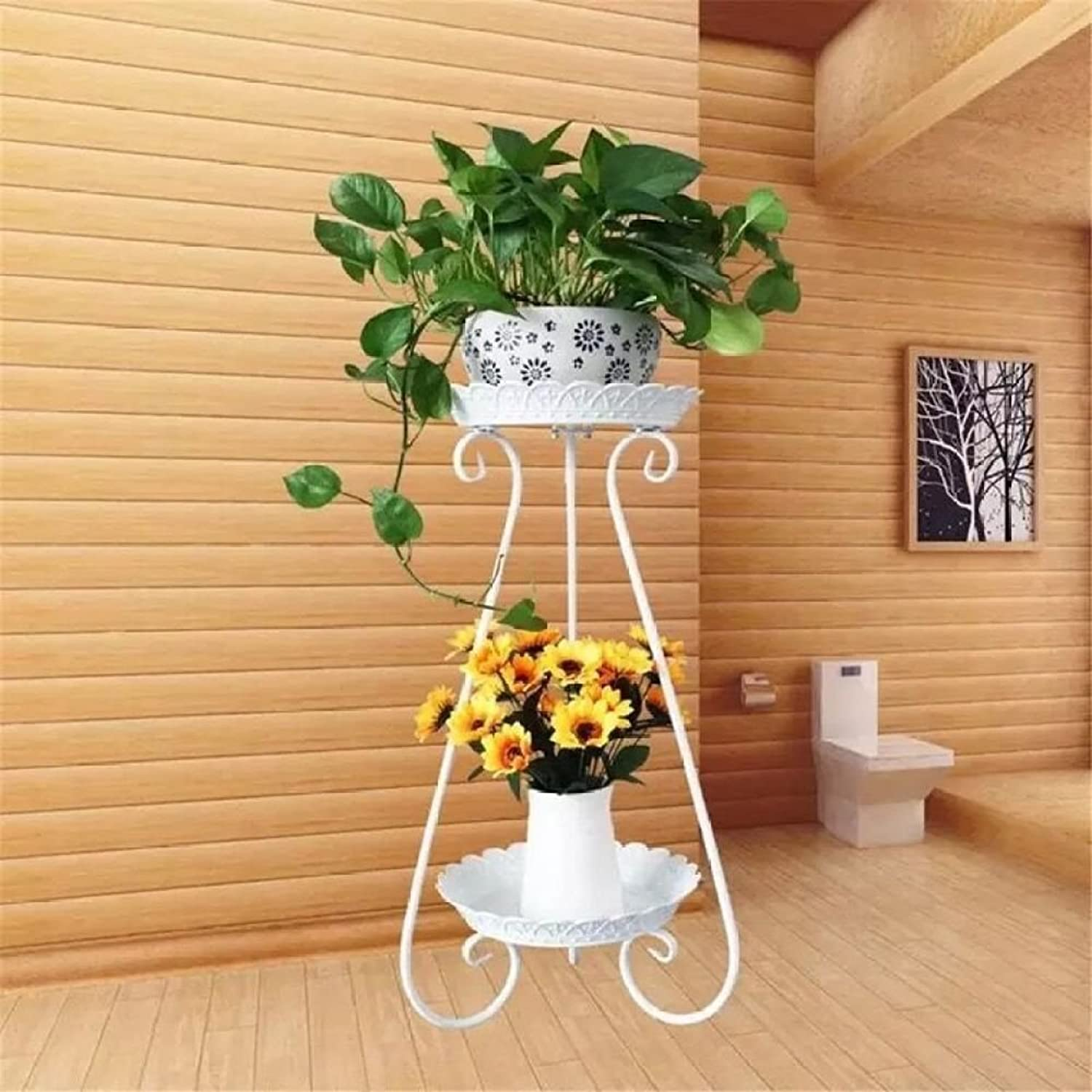 MBD European Flower Stand, Indoor Outdoor Flower Rack Wrought Iron 2 Plant Flower Pots Holder Plant Shelves Drop-Floor Living Room Balcony Flower Pot Rack (color   White, Size   S)