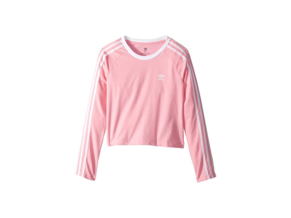 Image of adidas Originals Kids 3-Stripes Crop Long Sleeve (Little Kids/Big Kids) (Light Pink/White) Girl's Long Sleeve Pullover