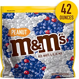 M&M'S Red, White & Blue Peanut Patriotic Chocolate Candy, 42-Ounce Party Size Bag