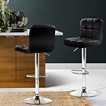 Bar Stools, Artiss 2 Pcs Leather Kitchen Stools, Swivel Gas Lift Bar Chairs Black