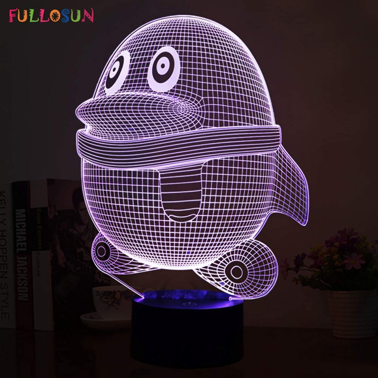 KKXXYD Cutely 3D Led Visual Lights with Penguin Model Led Atmosphere colorful Energy Saving Table Lamp