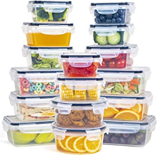 Fooyoo Food Storage Containers with Lids, 16 pc Set, Stackable Space-Saving Containers with Leakproof, Airtight Snap Lock Tops, BPA Free Plastic Food Containers with Lids