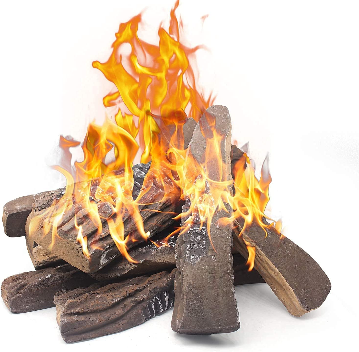 Gas Fireplace Logs,20pcs Large Faux Firepit Logs, Decorative Ceramic Wood  Log Set for Indoor Outdoor Gas Insets, Vented,Ventless,  Electric,Ethanol,Gel ...