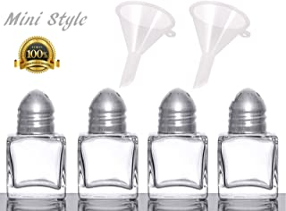Set of 4 Cube Shape Glass Mini Salt & Pepper Shakers (Stainless Steel Top) with 2 Mini Funnels for Easy Refill By Azi