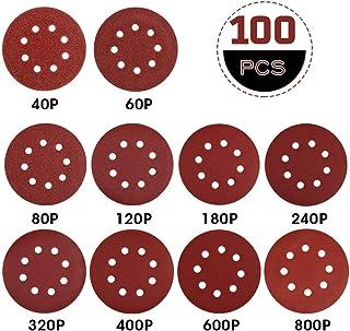 Disque de Ponçage Papier Abrasif 125 mm-Rovtop 100 PCS Disques Abrasifs 40/60/80/120/180/240/320/400/600/800 Idéal pour Po...