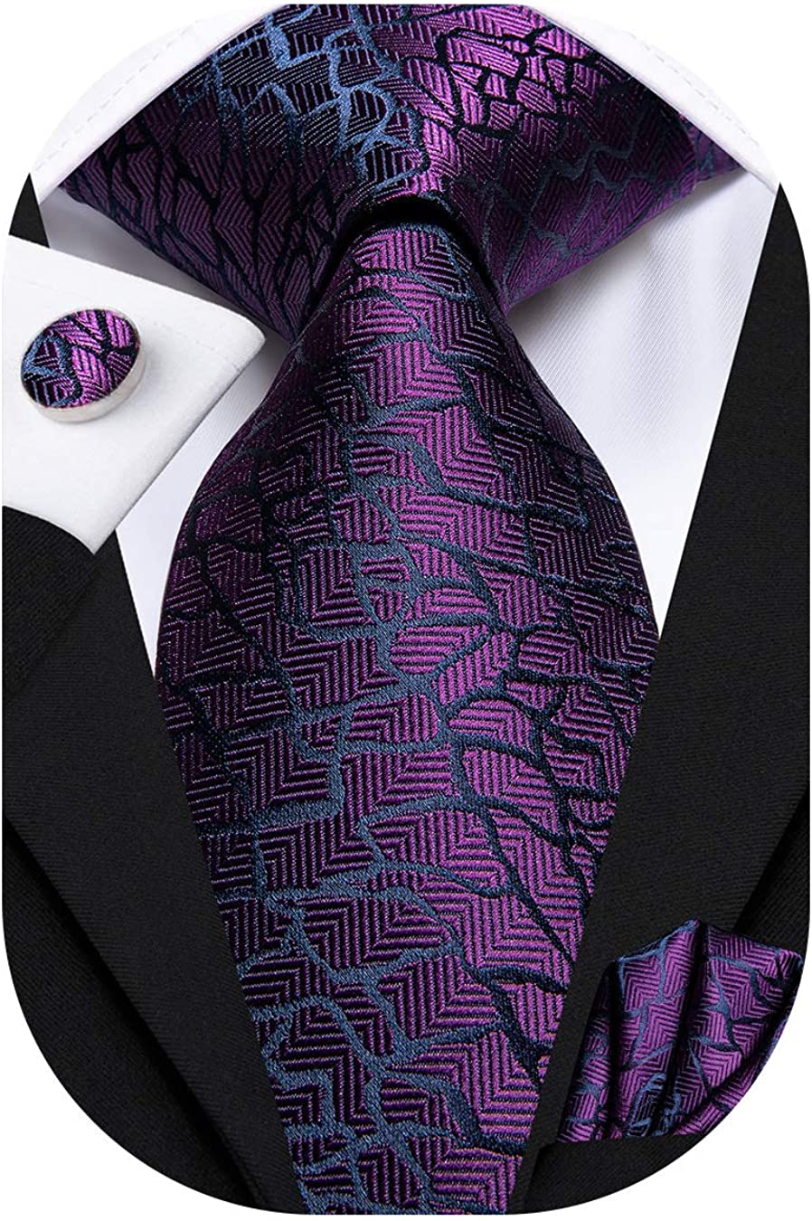 Hi-Tie Woven Silk Neckties for Men with Pocket Square and Cufflinks