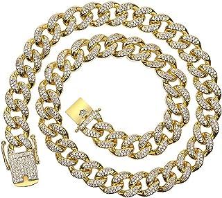 الهلال الدب الكوبي سلسلة ربط سلسلة للرجال الهيب هوب سلسلة مجوهرات سلسلة ميامي كوبية سلسلة قلادة مطلية بالكامل مثلجة للخارج